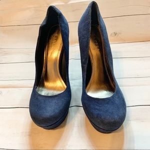 Baker's Suede Pump Navy Blue Wedges Mona 2 Women's